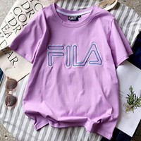 FILA New fashion letter embroidery short-sleeved top t-shirt Purple
