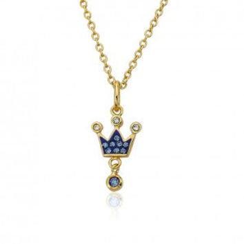 Pretty princess blue crown pendant necklace