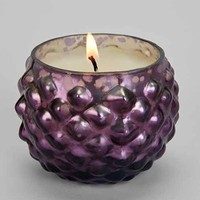 Small Round Hobnail Mercury Glass Candle- Lunar Orchid One
