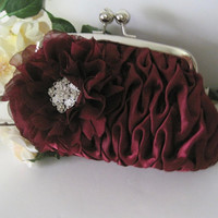 Gorgeous Wine Satin Pleated Clutch with a Handmade Wine chiffon open Rose and a Gorgeous Rhinestone Accent Clutches Purses Accessories
