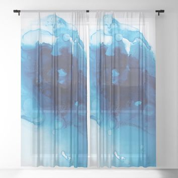 Vishuddha (Throat Chakra) Sheer Curtain by duckyb