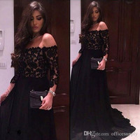 Sexy Off The Shoulder Black Lace Prom Dresses 2017 Three Quarter Sleeves Evening Party Dress Formal Gowns vestido de festa