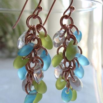 Sea Glass Colored Earrings Copper Chain Maille Shaggy Loops Hand Made