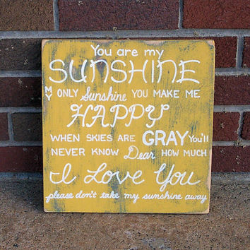 You are my Sunshine SIGN Yellow Handmade Hand-painted Wooden 12x12