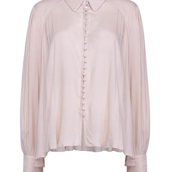 Beige Tie Front Pointed Collar Long Sleeve Shirt
