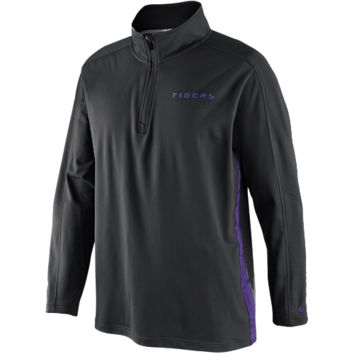 Nike LSU Tigers Knit Coaches Quarter Zip Pullover Jacket - Charcoal