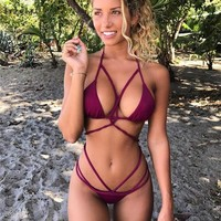 Sexy Bandage Bikinis Swimwear Swimsuit Women Bikini Push Up Crochet Bikini Set Ladies Bikini Thong Bathing Suit