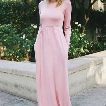 Ella Long Sleeve Maternity Maxi Dress - Mauve