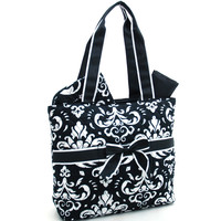 Quilted Damask Print 3pc Diaper Bag w/ Ribbon Accents - Black Trim Color: Black Trim