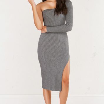 One Shouldered Long Sleeve Knit Maxi Dress with Deep Side Slit in Grey