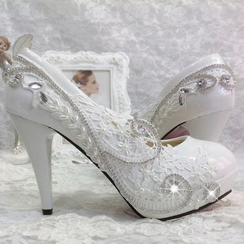 White Lace Bead Crystal Wedding Shoes