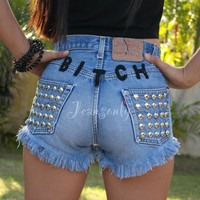 Bitch Levis high waisted denim shorts pastel goth soft grunge Studded shredded ripped distressed by Jeansonly