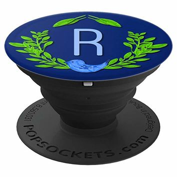 LETTER R Wreath and Bluebird - PopSockets Grip and Stand for Phones and Tablets