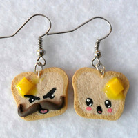 Funny Kawaii Toast Earrings, with Melted Butter and Emotion Faces :)