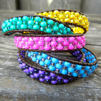 Spring Any Two Beaded Leather Single Wrap Mini Cuff Bracelet on Brown Leather You Pick Colors Purple Blue Green Yellow or Pink