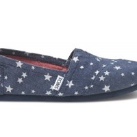 TOMS Navy Blue Stars Vegan Women's Classics Slip-On Shoes,