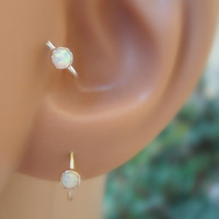 White Opal Nose Ring Hoop/Tragus/Cartilage Earring Sterling Silver Handcrafted 3mm Stone