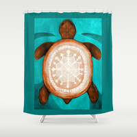 Snowflake turtle Shower Curtain by ArtLovePassion