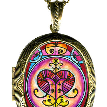 Erzulie Freda Veve Love Magic Locket Pendant Choose Empty or Solid Perfume