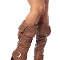 Camel Faux Leather Slouch Calf Length Chunky Heel Boots