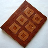 Refillable Journal Handmade Brown Copper Squares 9x7 Original