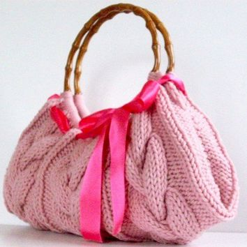 SALE OFF 20%, NzLbags Handmade - Handbag - Shoulder Bag - Everyday Bag-Powder Pink Knitted Nr - 099