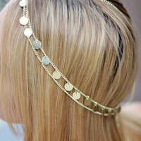 THE CLEOPATRA Gold Coin Hair Chain Jewelry Sexy Head Accessory Boho Indian Wedding Headpiece head chain Crown Gypsy Coachella Festival