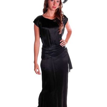 Vintage Black Silk Satin Evening Gown 1930s Size 38-27-38