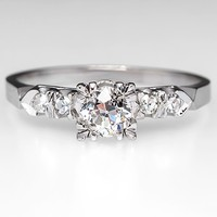 Antique Old Euro Engagement Ring 14K White Gold 1930's