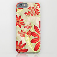 Dancing Red Flowers, Fractals Art iPhone & iPod Case by Gabiw Art