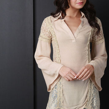 High Low Lace Long Bell Sleeve Top