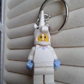 Unicorn girl  keychain keyring  made with LEGO® series 13 minifigure