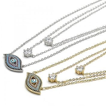 Gold Layered Fancy Necklace, Greek Eye Design, with Cubic Zirconia and Micro Pave, Golden Tone