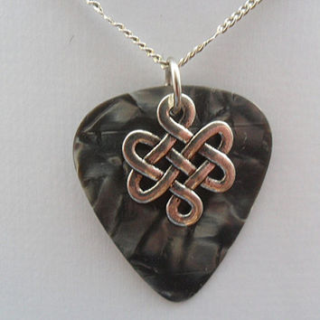 Fender Gray guitar pick necklace with Celtic Knot charm