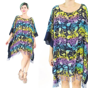 Vintage Caftan Dress Kaftan Mini Dress Batik Dress Tie Dye Dress Abstract Oversize Muu Muu Draped Fringe Dress Hippie Beach Dress (L/XL)