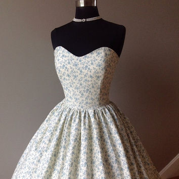 PETUNIA Tea Length Wedding Dress, Alternative, Cotton Prints