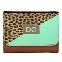 leopard skin print and mint green initial wallet