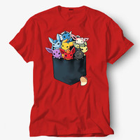 Pocket ful of monster shirt parody of pokemon, Hot product on USA, Funny Shirt, Colour Black White Gray Blue Red