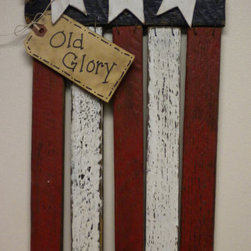 Lath Flag, American Flag, Patriotic Decoration, Wood Flag, Red White Blue Flag, Wood Chimes