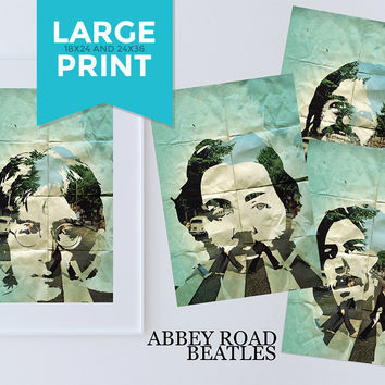 Beatles Poster Art Print Set of 4 Retro Illustrations Large Poster Vintage Wall Decor John Lennon Paul McCartney George Harrison Ringo Starr