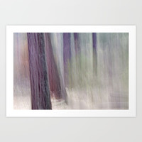 light escaping from deep forest Art Print by Guido Montañés