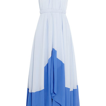 Saloni Iris two-tone georgette halterneck maxi dress – 50% at THE OUTNET.COM