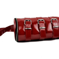Red PVC Buckle Cylinder Tube Purse Shoulder Bag