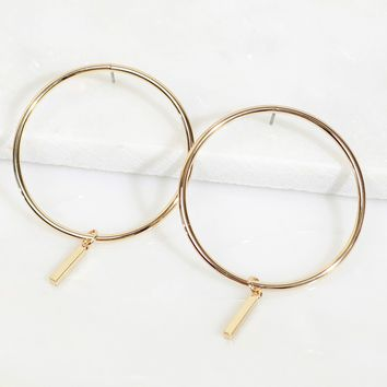 Dangling Bar Hoop Earring Gold