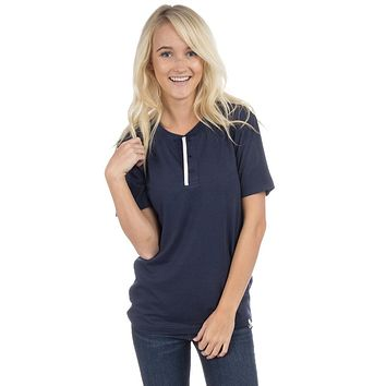 Short Sleeve Henley Tee in Sailor Navy by Lauren James - FINAL SALE