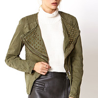 FOREVER 21 Military-Inspired Spiked Denim Jacket Olive/Antic.G Medium