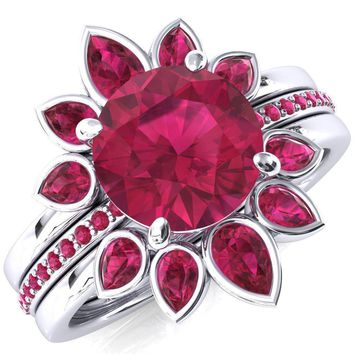 Flora Round Lab-Created Ruby 1/2 Eternity Accent Ruby Ring