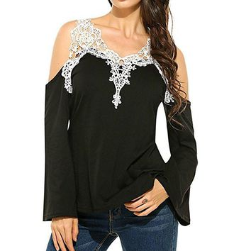 Jeanie Black Cold Shoulder Top