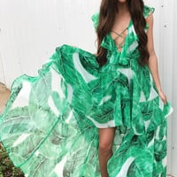 Palm Leaf Lace Up Maxi Dress