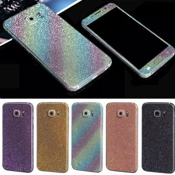 Bling Sticker Case For Samsung Galaxy S6 Full Body Decal Skin Bling Glitter Sticker Phone Cover For Galaxy S6 Edge Plus Coque